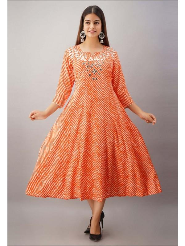 Orange Colour Rayon Fabric Gota Patti Readymade Kurti.