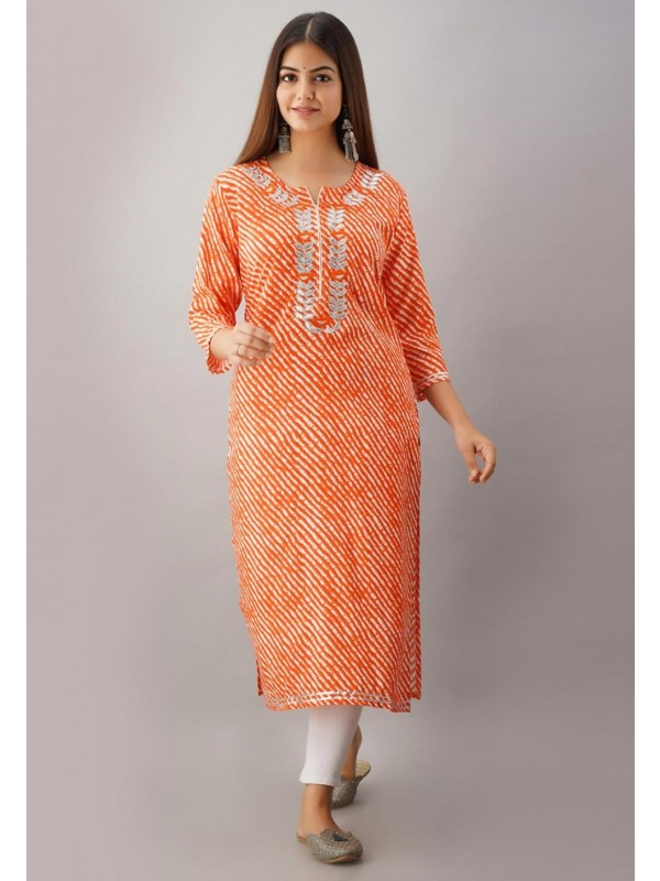 Gota Patti Work Lehariya Kurti in Orange Colour.