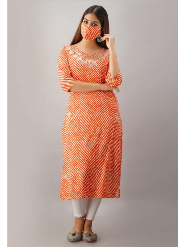 Rayon Fabric Orange Colour Gota Patti Kurti.