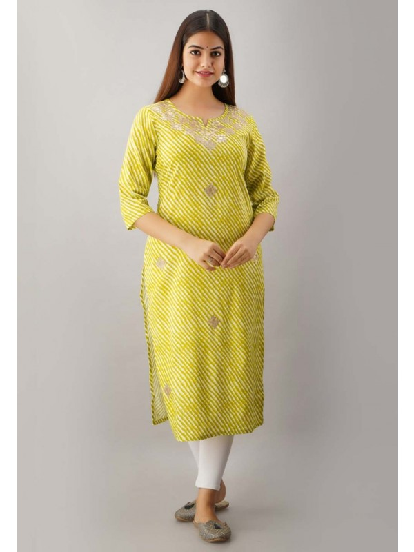 Green Colour Straight Kurti Rayon Fabric Readymade Kurti.