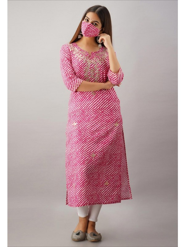 Pink Colour Rayon Fabric Gota Patti Work Kurti.
