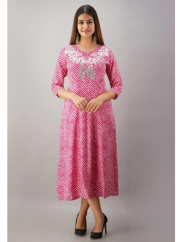 Anarkali Kurti Style Pink Colour Rayon Fabric Gota Patti Work Kurti.