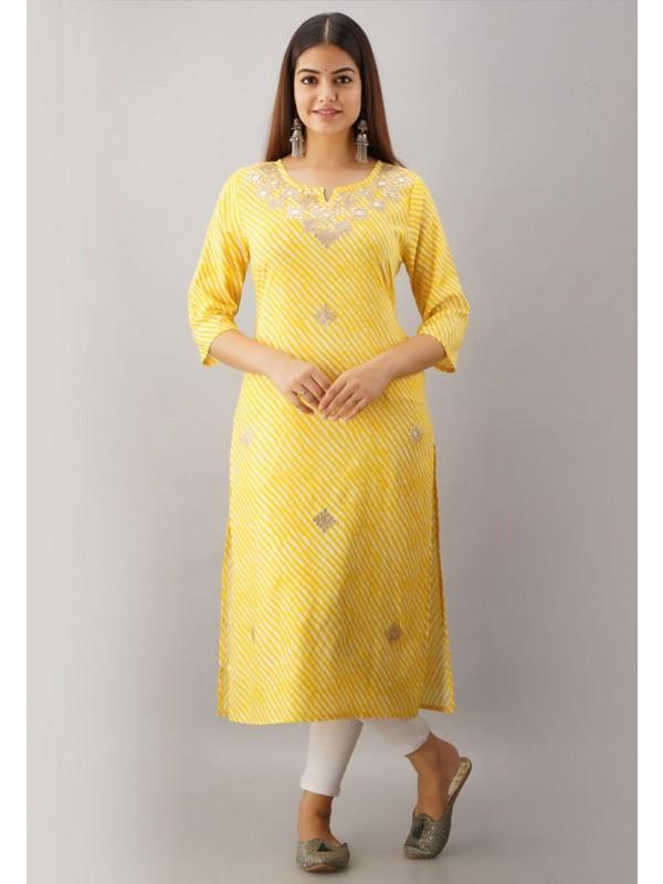 Yellow Colour Gota Patti Work Designer Kurti.