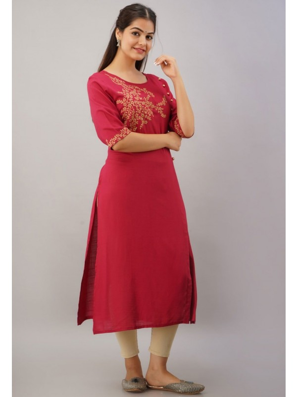 Red Colour Rayon Fabric Designer Readymade Kurti.